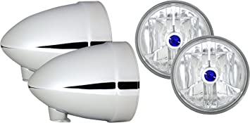 Adjure HB41020 4-1//2 Smooth Chrome Ventura Highway French Style Motorcycle Spotlight Bucket