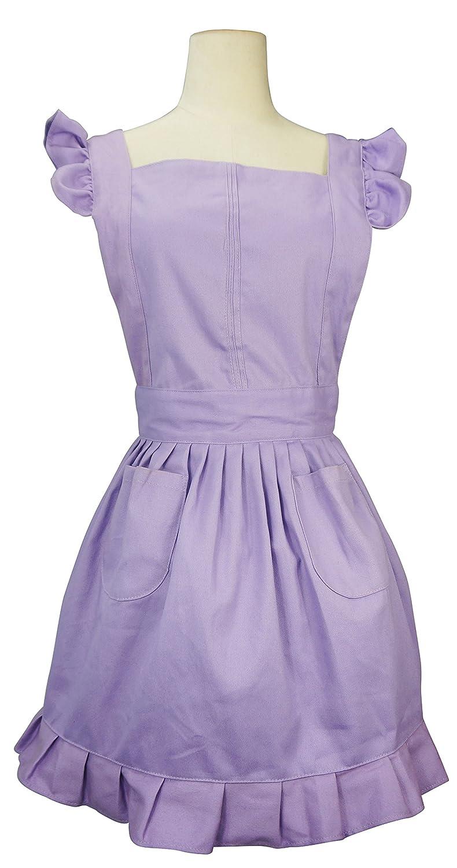 (Purple) LilMents Retro Adjustable Ruffle Apron Kitchen Cooking Baking Cleaning Maid Costume (Purple) B079FFJXQSパープル