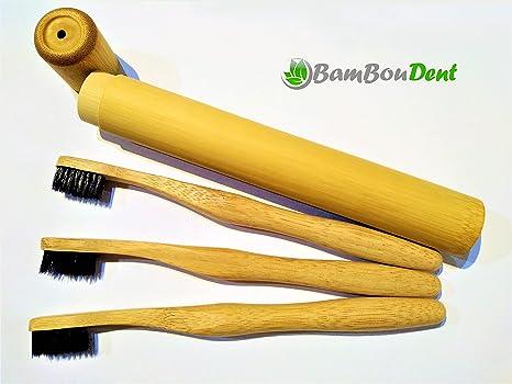 bamboudent ♻ – Funda de viaje & – Juego de 3 cepillos de dientes (bambú