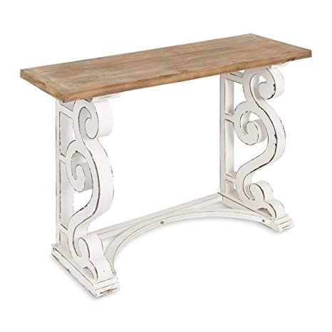 Sensational Kate And Laurel Wyldwood Country French Solid Wood Console Table Rustic White Legs Natural Wood Top Beatyapartments Chair Design Images Beatyapartmentscom