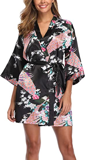 Aibrou Womens Bridesmaid Robes Short Peacock Blossoms Silk Stain Kimono Robe Dressing Gown