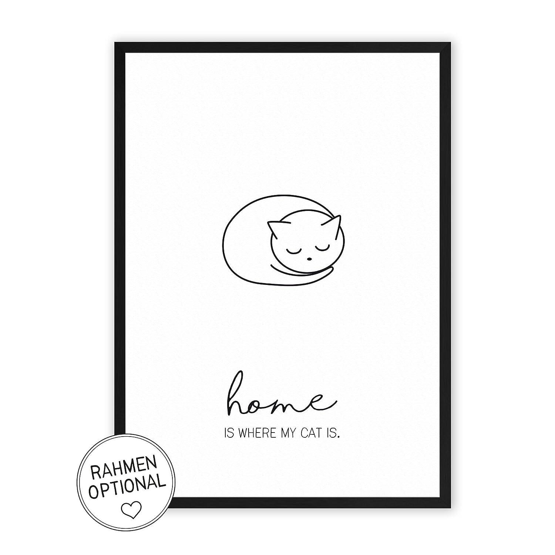 Home is where my Cat is - einzigartiger Kunstdruck mit Spruch auf wunderbarem Hahnemühle Papier DIN A4 -ohne Rahmen- schwarz-weiß - Typografie Wandbild Fine-Art-Print Dekoration Geschenk Geschenkidee Muttertag Bild Poster Plakat Home Deko shabby chic vinta