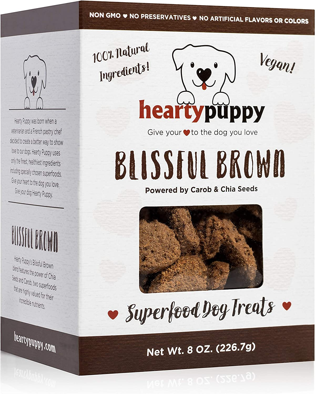 HEARTY PUPPY Vegan Superfood Dog Treats, 100% Natural Human Grade Ingredients, Non GMO, No Artificial Flavors, Colors or Preservatives
