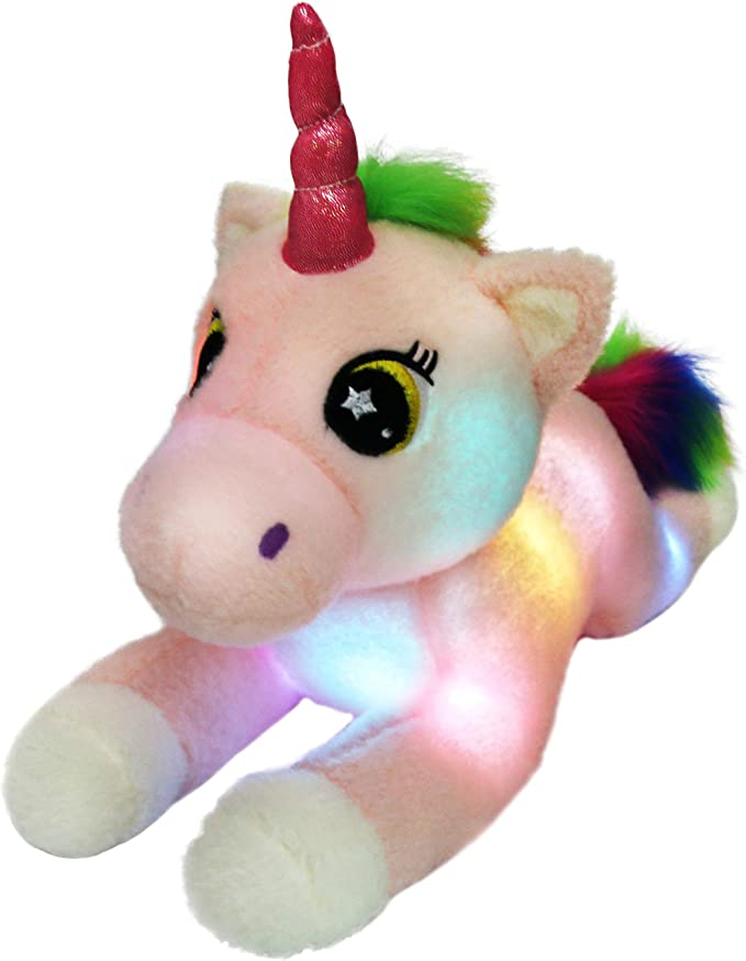 1pc 60CM Cute Glowing LED Light Unicorn Plush Pillow Toys Lovely Luminous Animal