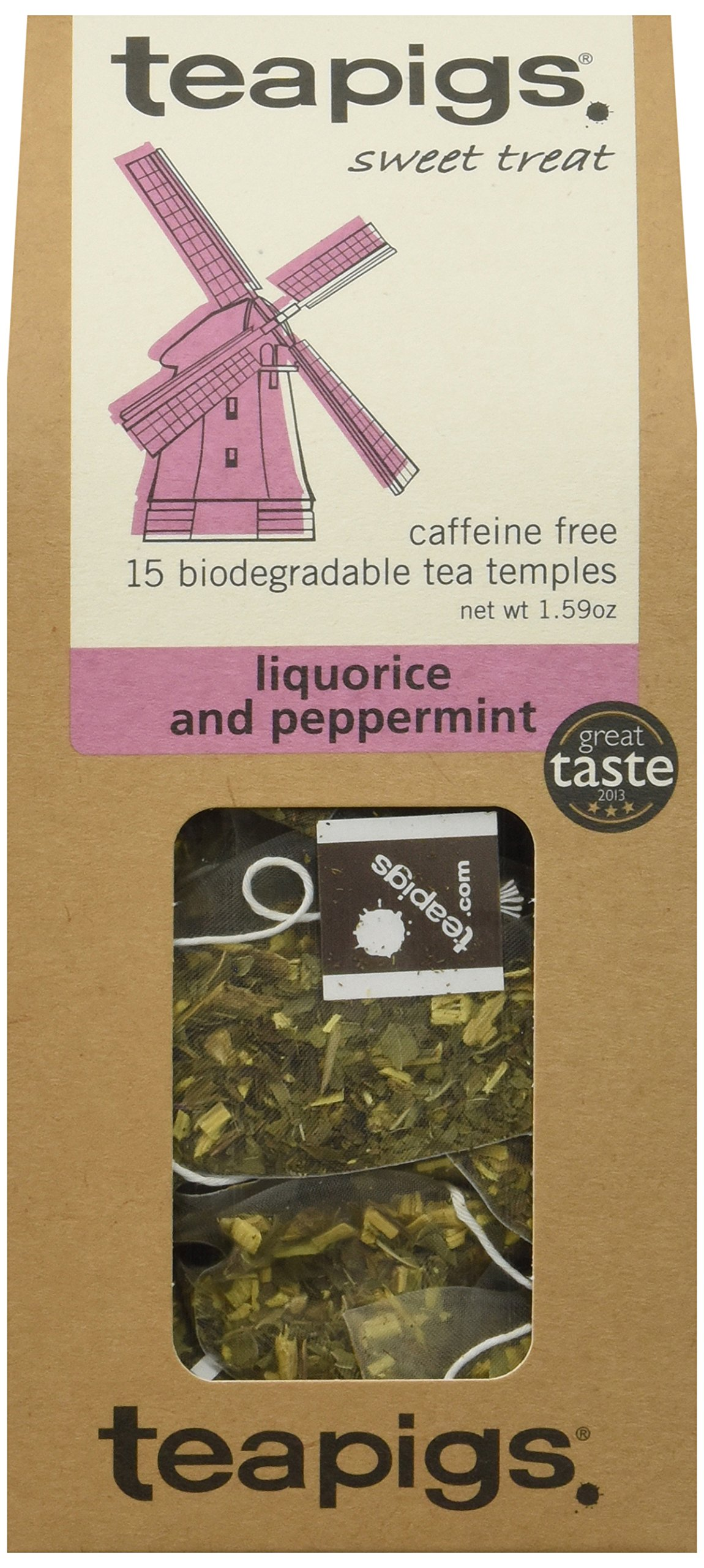 teapigs Liquorice and Peppermint Tea, 15 Count (Pack of 6)