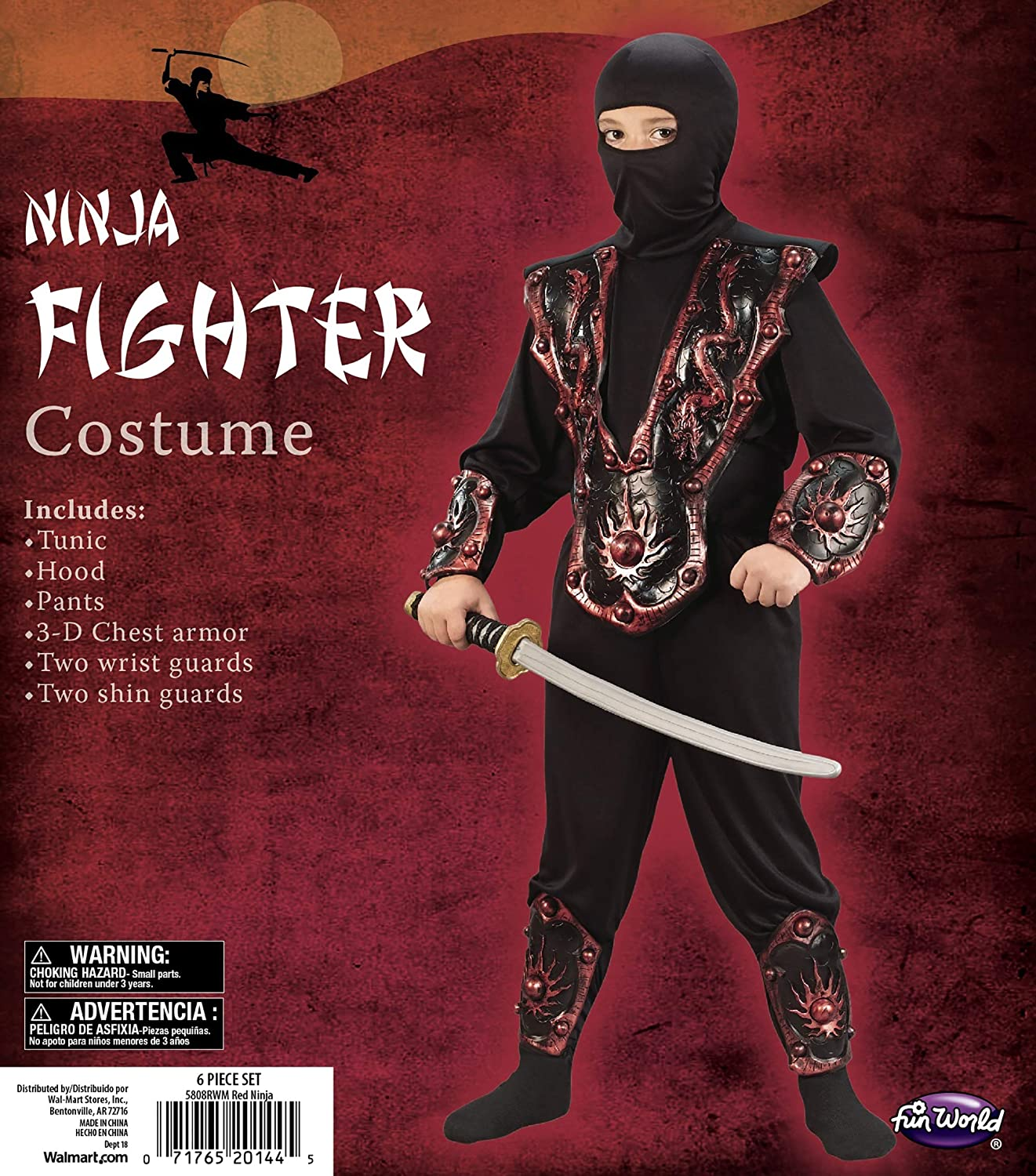 Amazon.com: Boys Red Ninja Fighter Halloween Child Costume ...