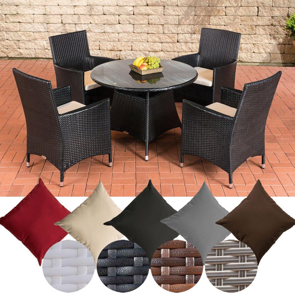 CLP Poly-Rattan Sitzgruppe SANREMO, 4 Garten-Sessel + Tisch rund Ø 100 cm, FARBWAHL Rattan Farbe Schwarz, Bezugfarbe Cremeweiß