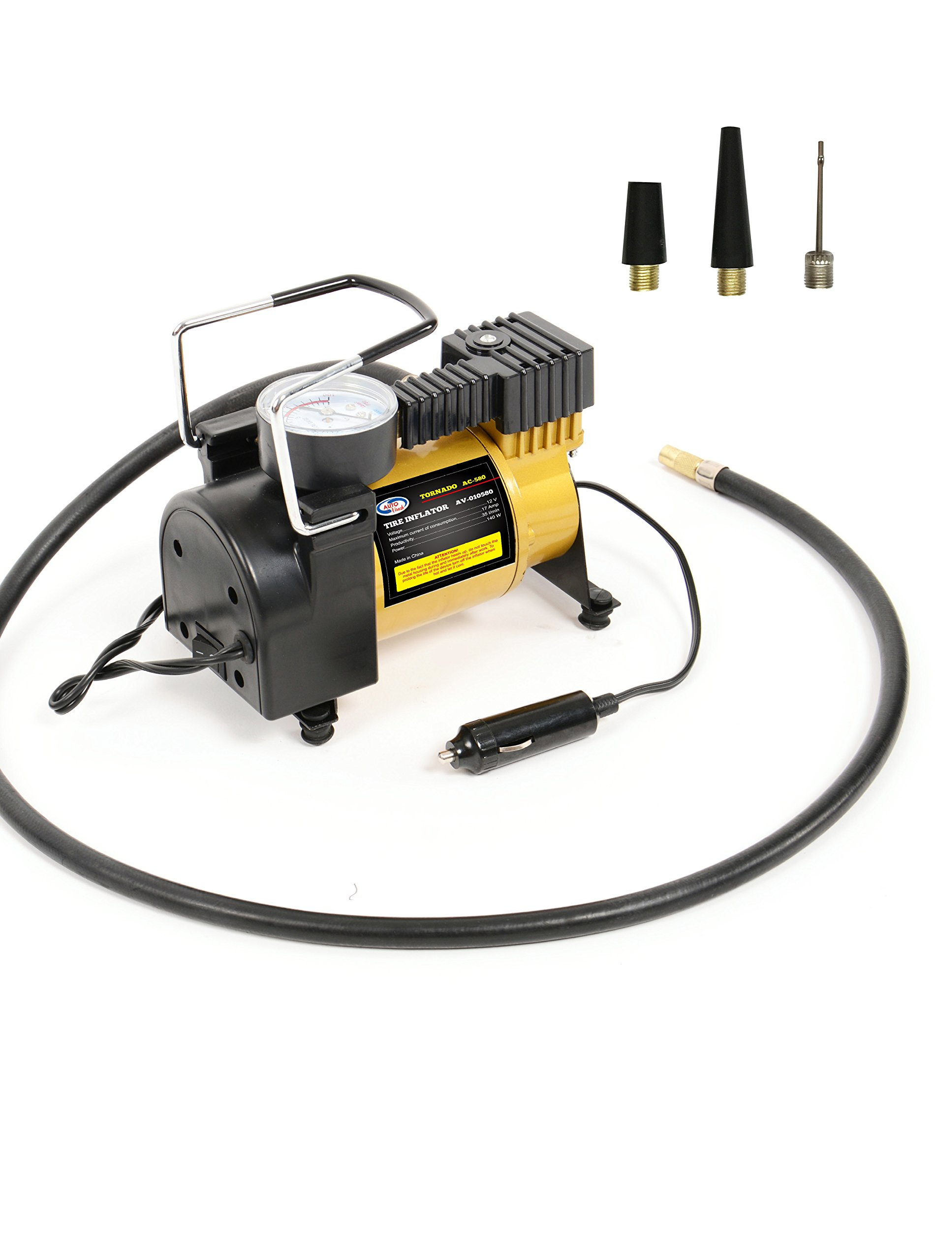 Portable Mini Air Compressor Pump: 12V Electric Car Tire Inflator with Pressure Gauge - Small Compressor Tanks with 3 Foot Hose & 3 Universal Nozzle Adapters for Automobiles, Bike Tires & Inflatables
