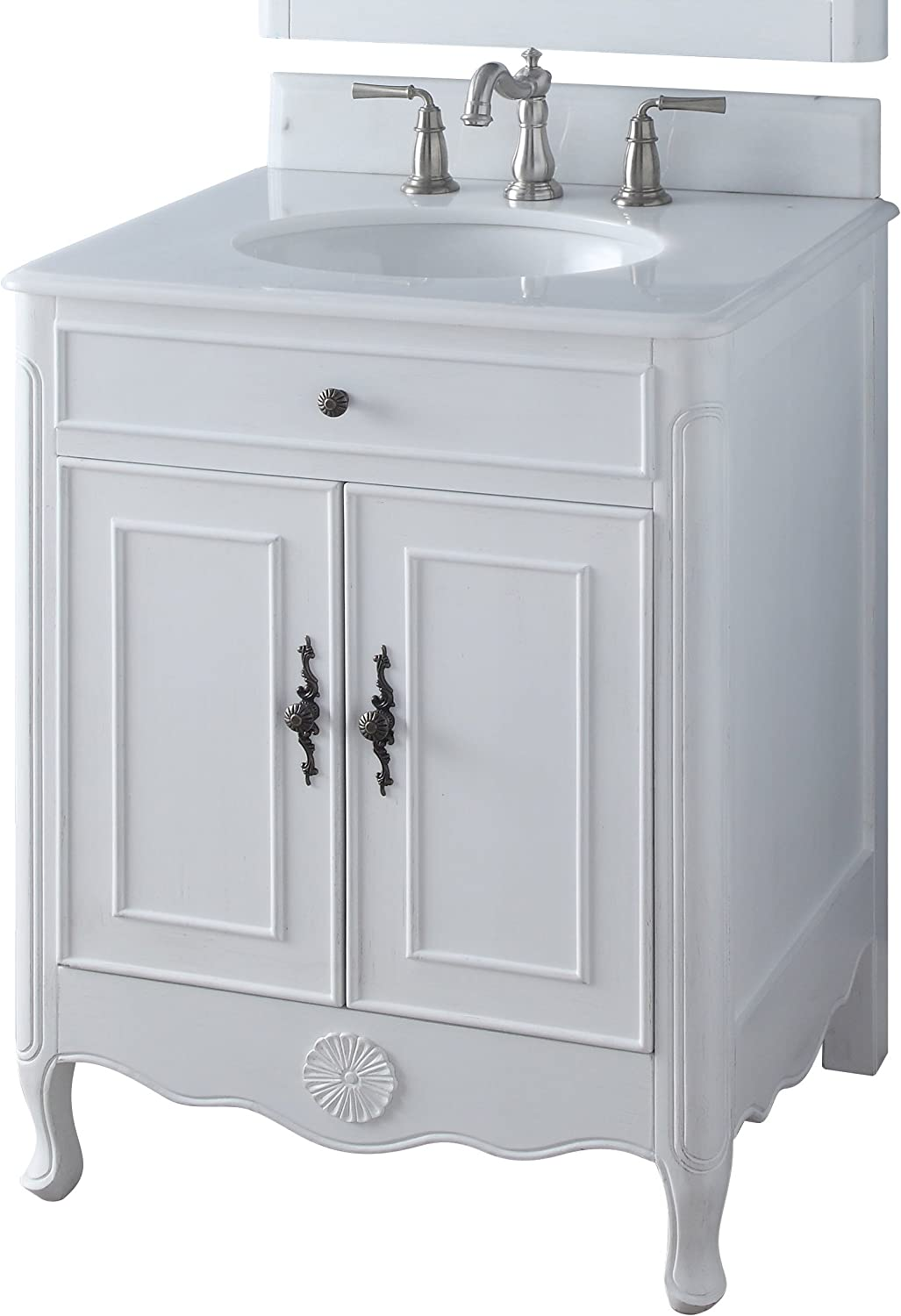 Amazon Com 26 Benton Collection Daleville Antique White Shabby Chic Bathroom Sink Vanity 838aw Kitchen Dining