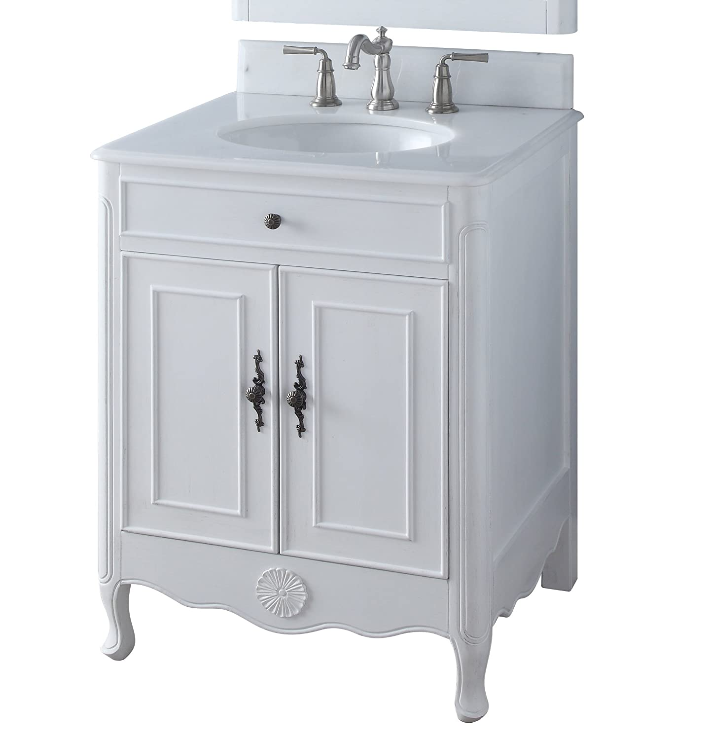 "26"" Benton Collection Daleville Antique White Shabby Chic Bathroom"