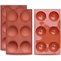 homEdge Large 6-Cavity Semi Sphere Silicone Mold, 3 Packs Baking Mold for Making Chocolate, Cake, Jelly, Dome Mousse