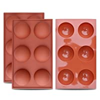 homEdge Large 6-Cavity Semi Sphere Silicone Mold, 3 Packs Baking Mold for Making Hot Chocolate Bomb, Cake, Jelly, Dome Mousse