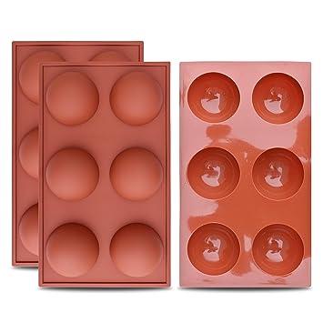 homEdge Molde grande de silicona semiesfera de 6 cavidades, 3 paquetes de moldes para hornear para hacer chocolate, pastel, gelatina y mousse de cúpula: ...