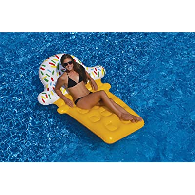Swim Central Inflatable Yellow and White Ice Cream Cone Floating Lounge Raft, 74-Inch: Toys & Games