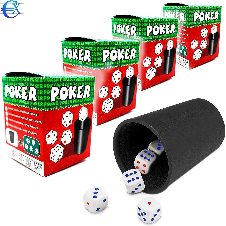 EUROXANTY® Cubilete con Dados | 20 Dados y 4 Cubiletes | Juegos de Mesa | Juegos en Familia | Niños | Adultos | Dados de Puntos | Poker | Parchís