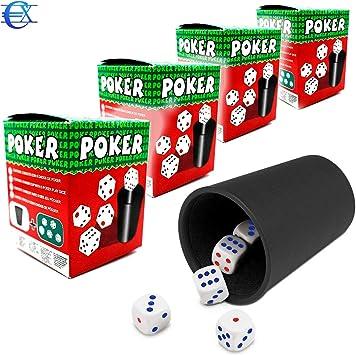 EUROXANTY® Cubilete con Dados | 20 Dados y 4 Cubiletes | Juegos de Mesa | Juegos en Familia | Niños | Adultos | Dados de Puntos | Poker | Parchís: Amazon.es: Juguetes y juegos