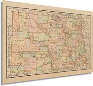 HISTORIX Vintage 1892 North Dakota State Map - 24x36 Inch Vintage Map of North Dakota Wall Art - Old Historic North Dakota Map Poster Showing County Boundaries Railroads and Notable Features (2 Sizes)