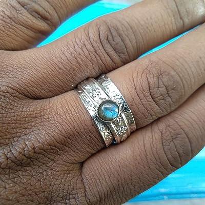 925 Sterling Silver Handmade Boho Spinner Ring Jewelry for Women Size 6 Gift