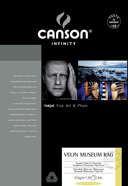Canson infinity Arches Velin Museum Rag Scatola Carta Fotografica 25Fogli Bianco Puro 315g/m² A4 21x29, 7 cm bianco 206111018