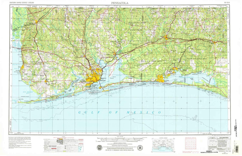 Topo Map Florida.Amazon Com Yellowmaps Pensacola Fl Topo Map 1 250000 Scale 1 X 2