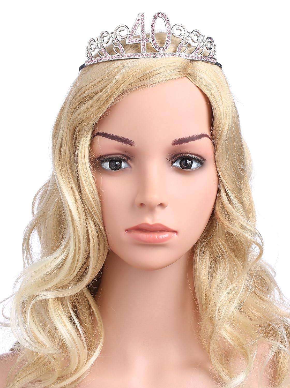 BABEYOND Crystal Birthday Tiara Rhinestone Princess Crown Happy Birthday Crowns Silver Diamante Happy 18//20//21//30//40//50//60//90th Birthday Gold-20th