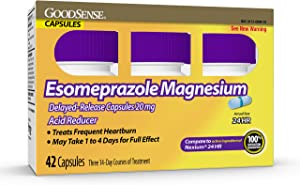 GoodSense Esomeprazole Magnesium Delayed Release Capsules 20 mg, Acid Reducer, Treats Heartburn, 42 Count