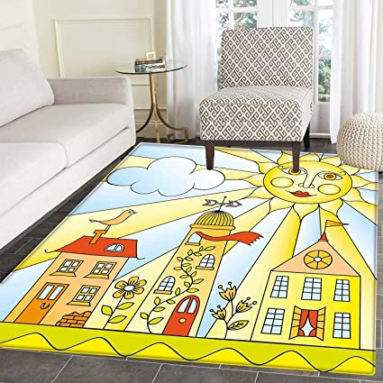 Etonnant Kids Room Area Rug Carpet Childlike Drawing Of City Under Smiling Sun  Cartoon Houses Garden Cloud