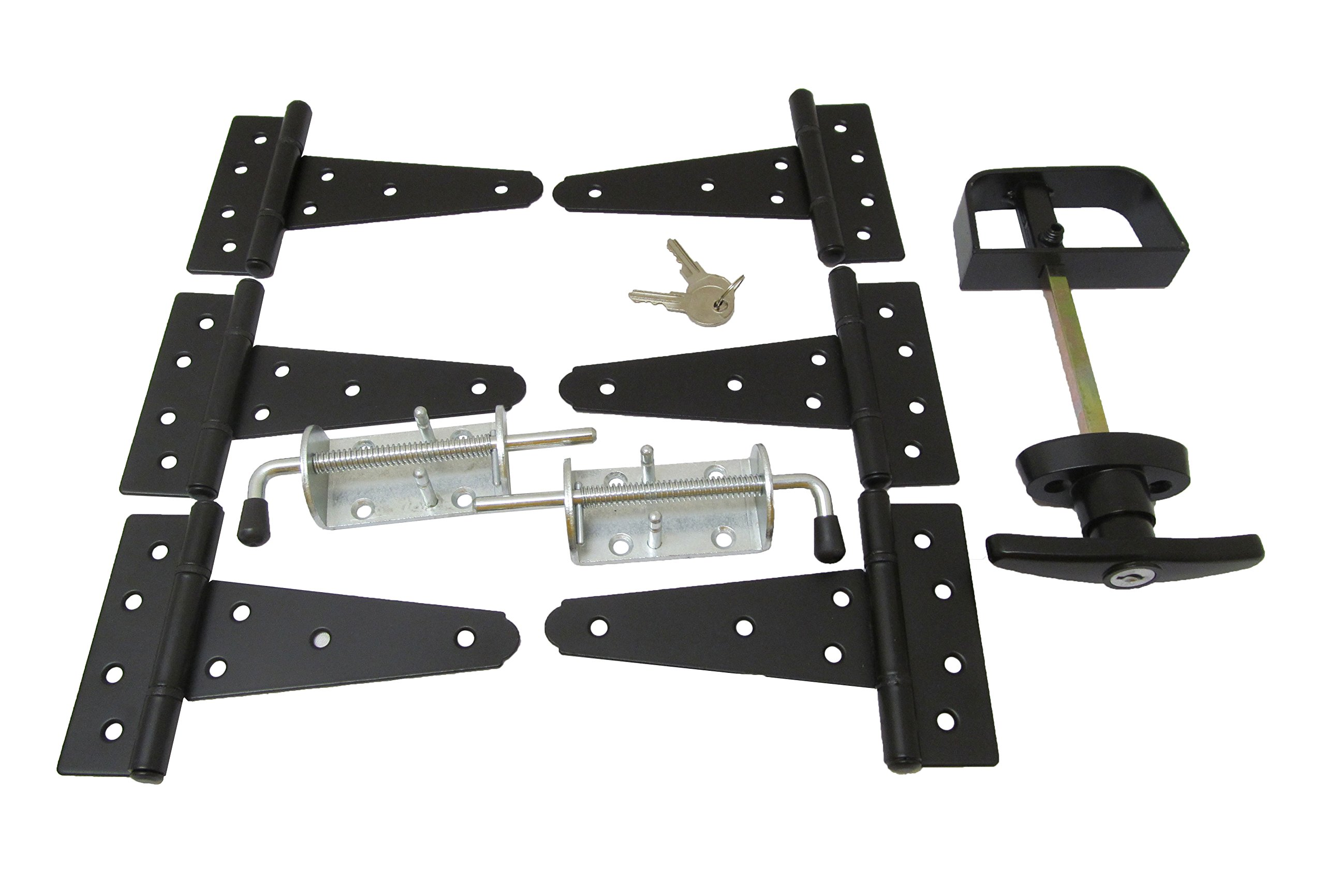 Shed Door Hardware Kit #1, T Hinges 5'', T-handle, NEW Heavy Duty Barrel Bolts