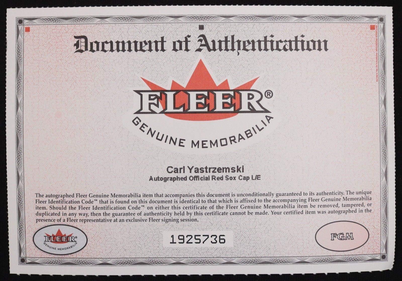 Carl Yastrzemski Red Sox Hof Autographed Signed Fleer New Era Authentic Collection Hat JSA