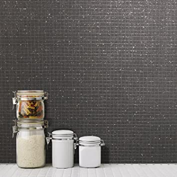 Tile Wallpaper Mosaic Glitter Effect Black Grey Kitchen Bathroom Washable  Vinyl