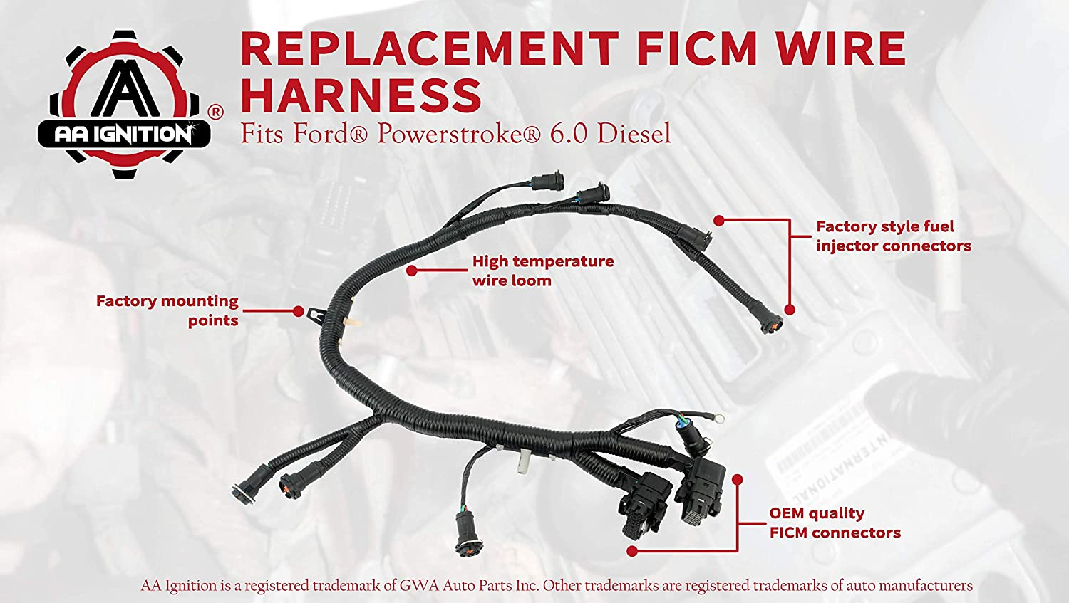 Ficm Engine Fuel Injector Complete Wire Harness Parts Replaces Part 5c3z9d930a Fits Ford Powerstroke 60l Diesel 2003 2004 2005 2006