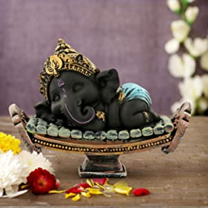TIED RIBBONS Ganesh Idol for Home décor - Decorative Ganesha Statue for Diwali Decor (16 cm X 11 cm)