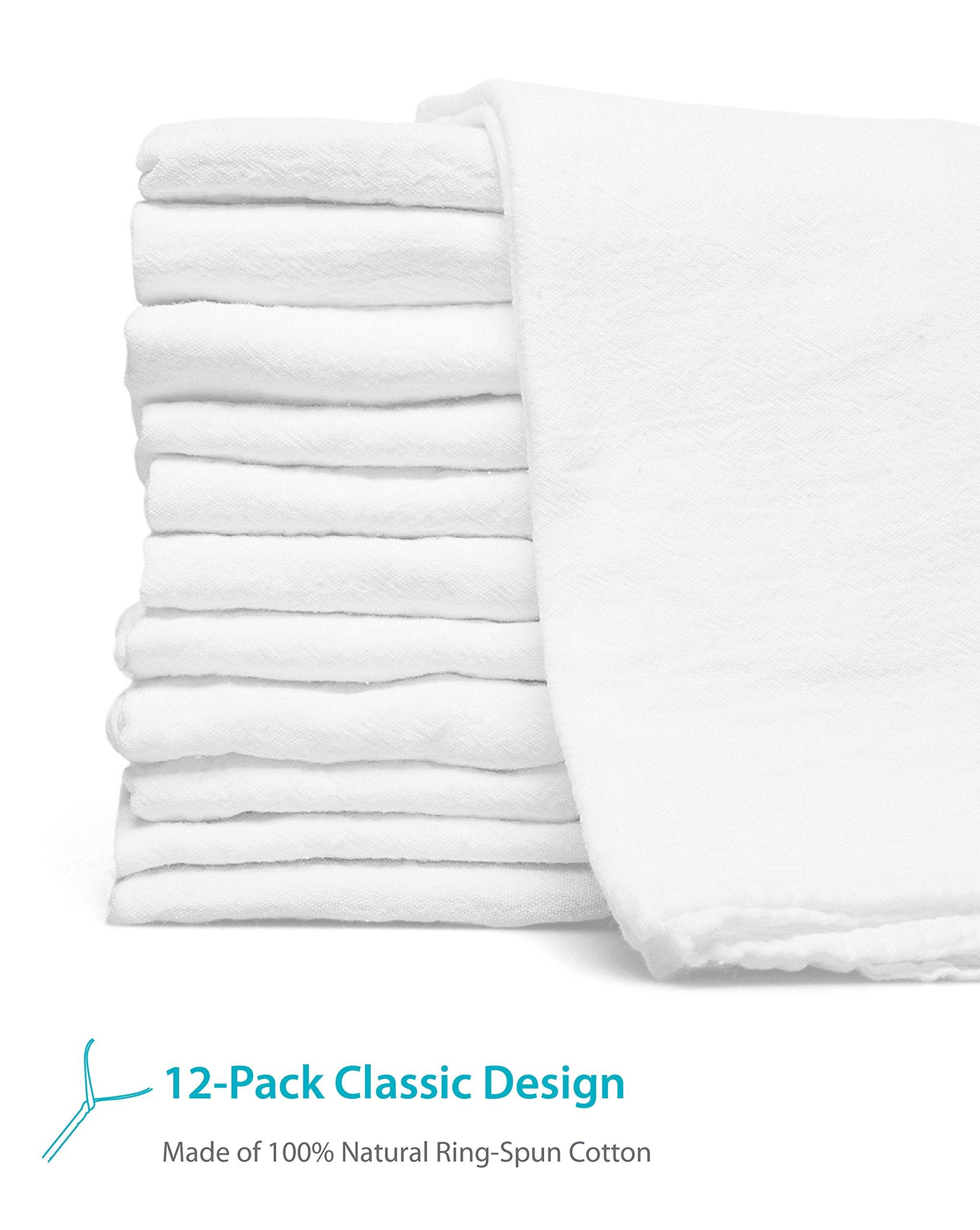 Zeppoli 12-Pack Flour Sack Towels - 31'' x 31'' Kitchen Towels - Absorbent White Dish Towels - 100% Ring Spun Cotton Bar Towels by Zeppoli (Image #2)