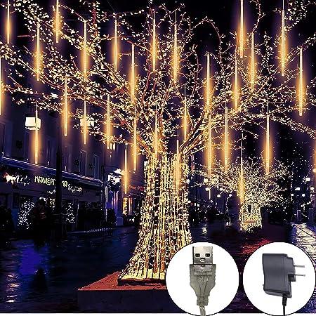 144 LED Solar Lights Meteor Shower Rain 8 Tube Tree Outdoor Light Garden Party