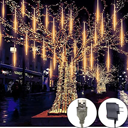 Led Outdoor Christmas Lights.Meteor Shower Rain Lights 8 Tube 144 Leds Outdoor Christmas String Light Plug Powered Waterproof Snow Falling Raindrop Icicle Cascading Decoration