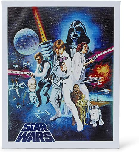 Amazon Com Star Wars Episode Iv A New Hope Original 1977 Movie Poster Recreation Decor For Kitchen Living Room Family Room Bedroom Vintage Unframed 16x20 Inch Wall Canvas Hanging Licensed