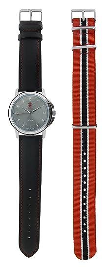 Relojes Calgary Premium Black Forest. Reloj Gama Premium analógico de Hombre y Mujer con Correa Negra de Cuero y Correa Extra de Tela a Rayas roja y Negra: ...