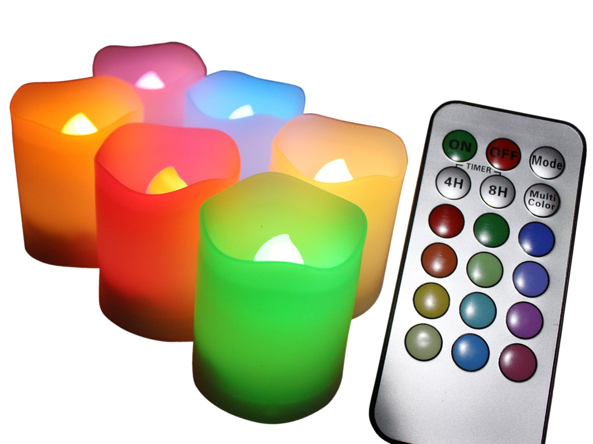 EcoGecko Set of 6 Indoor/Outdoor Remote Controlled Color Changing Votive Candles-Batteries Included