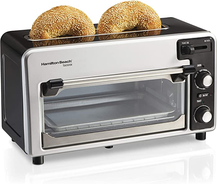 Hamilton Beach 2-in-1 Countertop Oven and 2-Slice Toaster with Extra Wide Slot, Shade Selector, Baking Pan Included, Black (22723)
