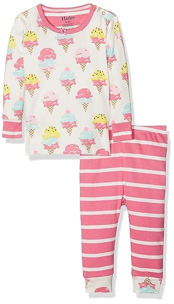 Hatley Mini Organic Cotton Long Sleeve, Conjuntos de Pijama para Bebés, Blanco (Ice