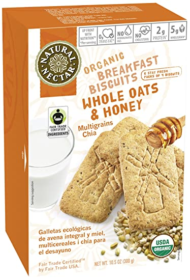 Natural Nectar Organic Breakfast Biscuits, Whole Oats and Honey, 10.5 Ounce