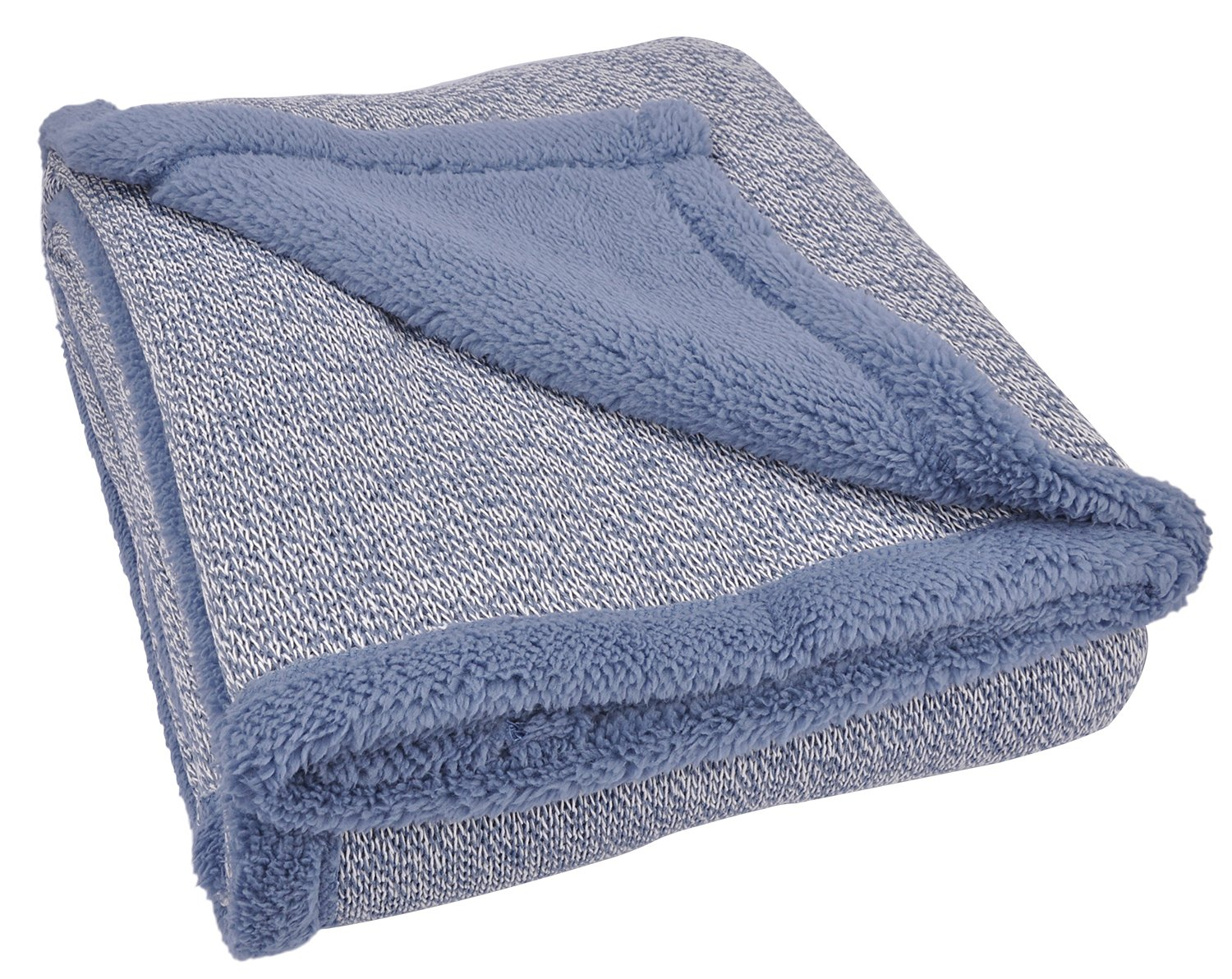 Sherpa Throw Blanket Super Soft Cozy with Plush Fleece for Coach and Bed | Size 50''x 60'' Reversible Warm Knitted Blanket for All Season Blue