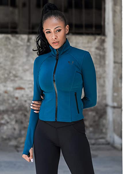 atl/ética VUTRU Chaqueta deportiva para mujer con cremallera completa ajuste delgado
