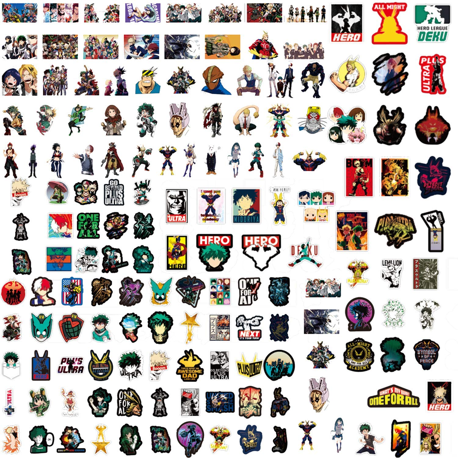 My Hero Academia Stickers,223 Pcs Waterproof Stickers Collectibles Car Snowboard Bicycle Luggage Phone Water Bottle Skateboard Stickers Anime Lover Gift