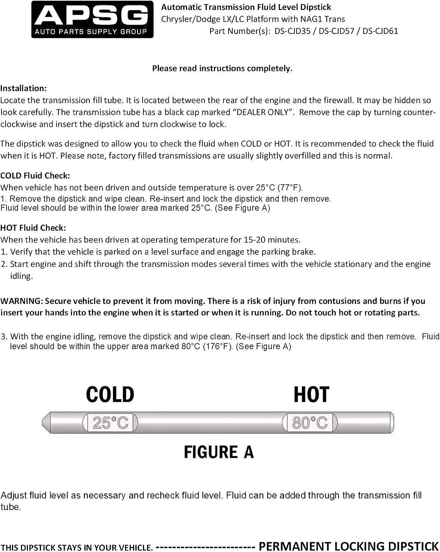 How To Check Transmission Fluid Level >> 6 1 6 4 V8 Transmission Fluid Dipstick Tool For Chrysler Dodge Jeep W Instructions