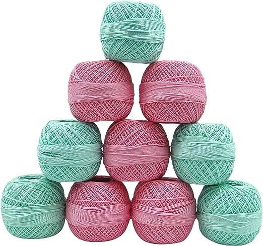 IBA Indianbeautifulart Rosa Bordado de Punto Verde de la madeja de algodón de Ganchillo 10 Piezas Juego de Bolas de Rosca del Hilado: Amazon.es: Hogar
