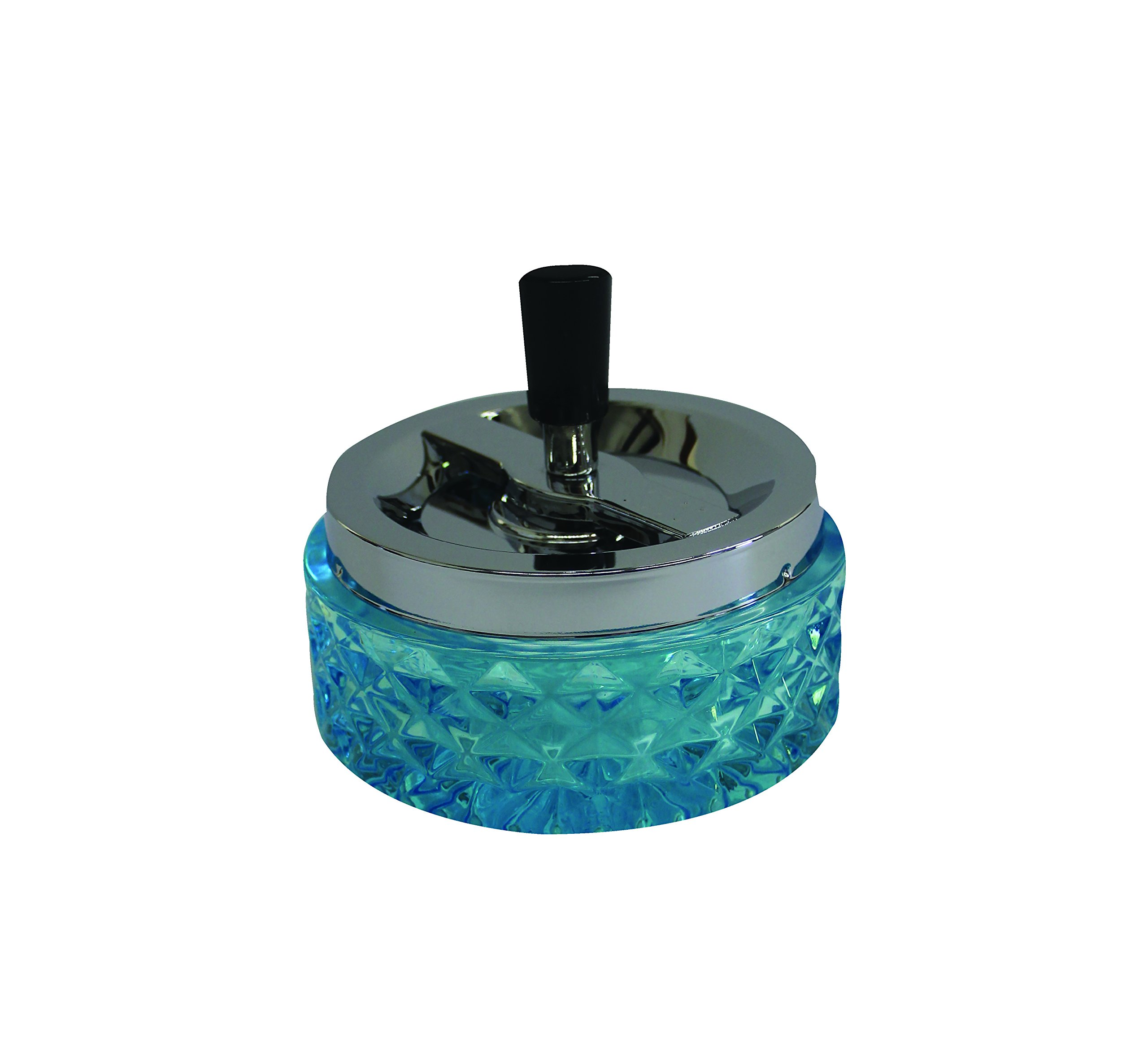 4.75'' Round Push Down Glass Ashtray with Spinning Tray ~ Choose Your Own Color (Aqua Blue)