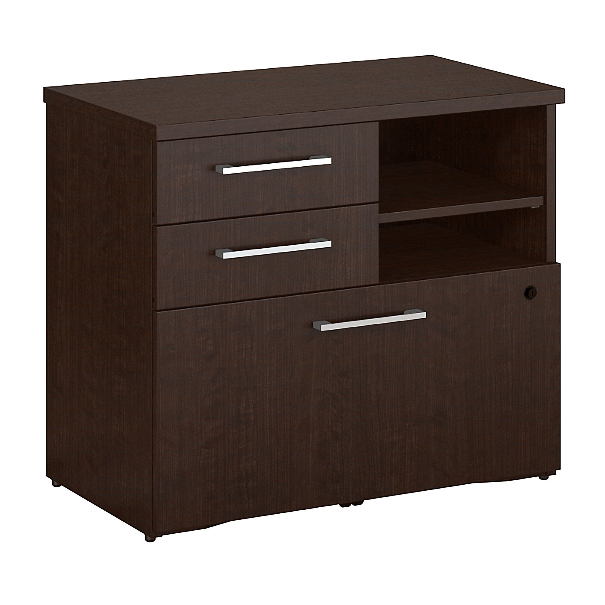 Bush Business Furniture 400 Series 30W Piler Filer Cabinet in Mocha Cherry