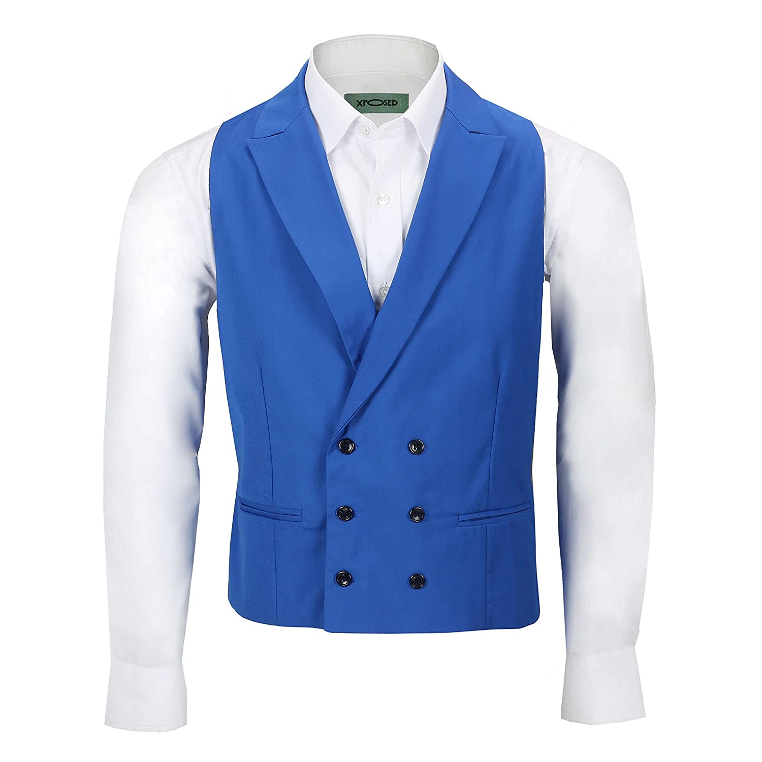 Xposed Mens Vintage Double Breasted Collar Waistcoat Retro Peak Lapel Tailored Fit Smart Casual Vest