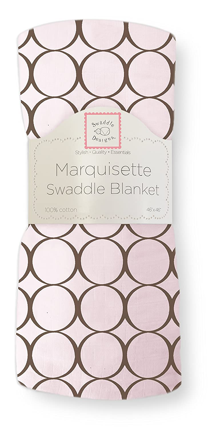 SwaddleDesigns Marquisette Swaddling Blanket Brown Mod Circles on Lime SD-050LM Premium Cotton Muslin